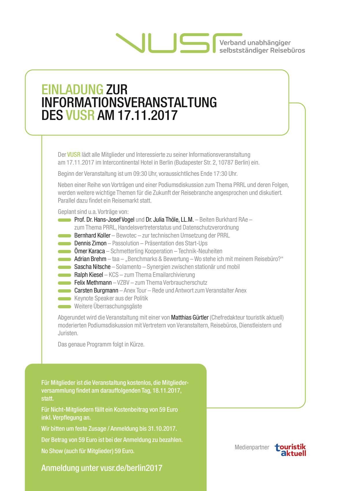 redaktion vusr – verband unabhängiger selbstständiger reisebüros e.v., Einladung